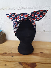 Load image into Gallery viewer, Hair Wrap in navy with red love hearts