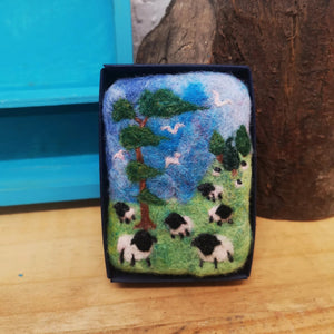 Felted Luxury Goats Milk Soap with grazing sheep