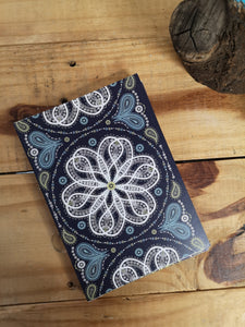Blue paisleyscope A5 notebook with lined pages