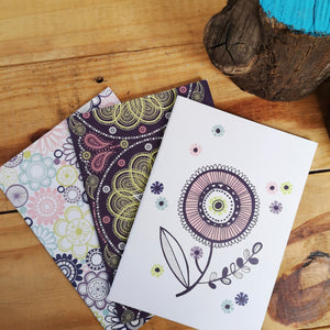 Circles and swirls A5 notebook with blank pages