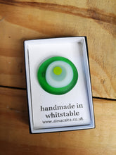 Load image into Gallery viewer, Green and white sea glass styled brooch