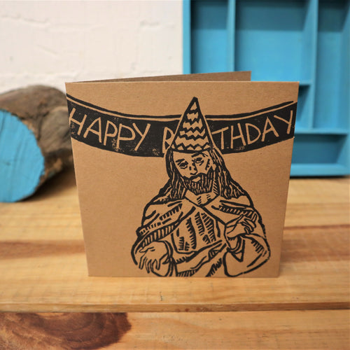 Happy birthday Jesus lino print brown card