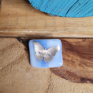 Blue butterfly glass brooch