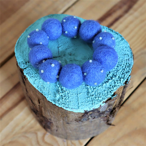 blue felted ball bracelet