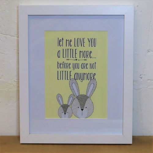 let me love you a little more yellow nursery print with bunny illustration