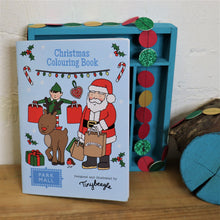 Load image into Gallery viewer, christmas colouring boo with santa, rudolf and elf on the cover shopping for christmas gifts