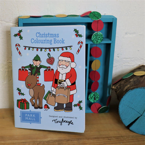 christmas colouring boo with santa, rudolf and elf on the cover shopping for christmas gifts