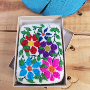 Felted Luxury Goats Milk Soap with a bright floral design