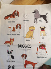 Load image into Gallery viewer, Dogs illustrated tea towel