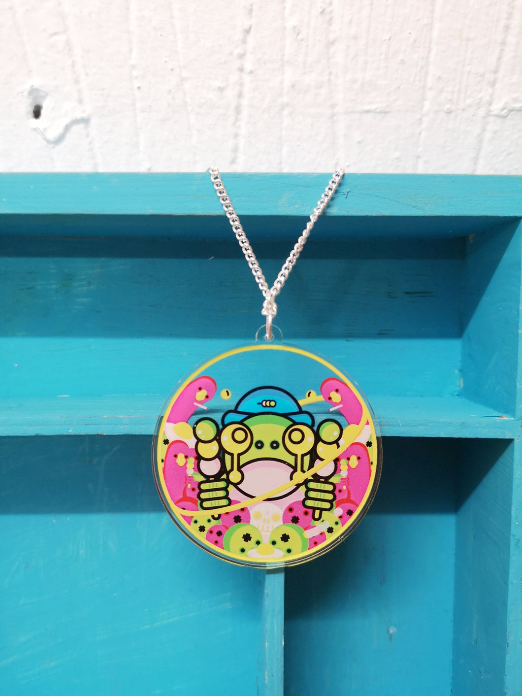 Double sided Frog Face urban art pendant necklace