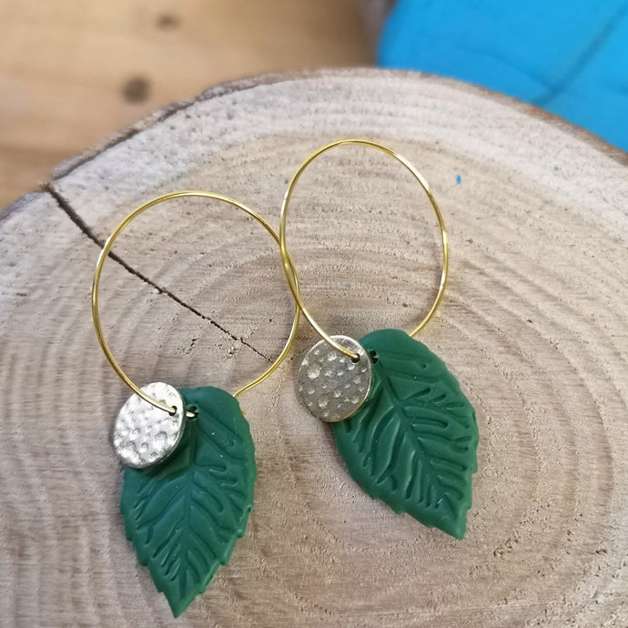 Green Leaf and gold tone hoops