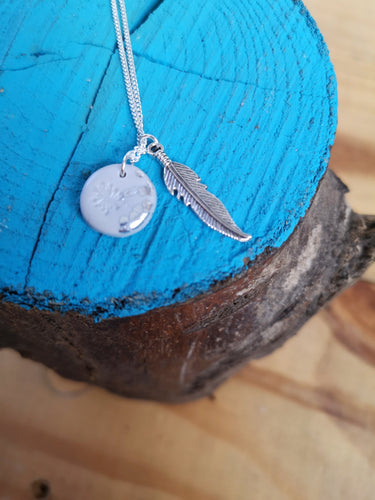 Grey and silver charm necklace