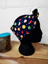Load image into Gallery viewer, Headscarf in navy fruit cotton