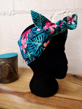 Load image into Gallery viewer, Headscarf in tropical pink and green rain forest palm hibiscus cotton