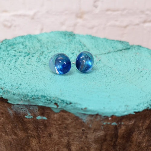 Sterling silver stud earrings with hand cut, kiln formed glass fusion murrini