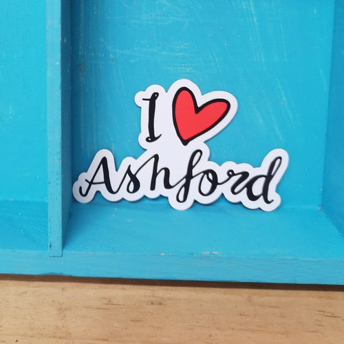I love Ashford merch font cut out sticker
