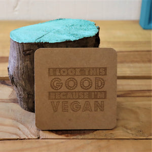 wooden drinks coaster gift for vegan