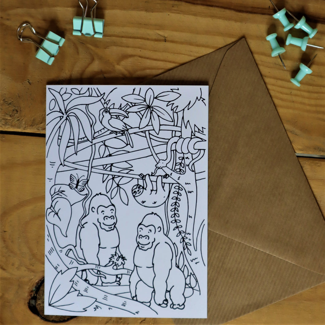 Jungle colouring in card