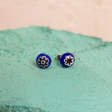 Load image into Gallery viewer, Venetian milifiori coloured glass stud earrings