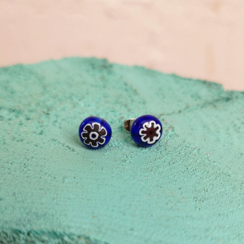 Venetian milifiori coloured glass stud earrings