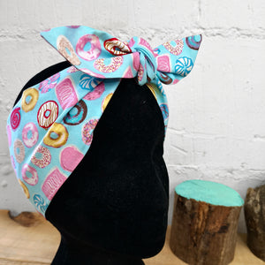 Headscarf in light blue pastel doughnut cotton