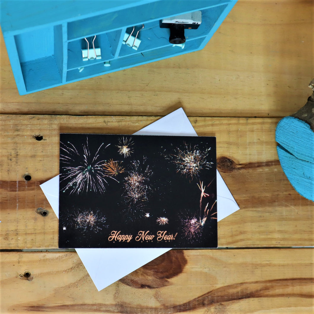 happy new year card with firework display