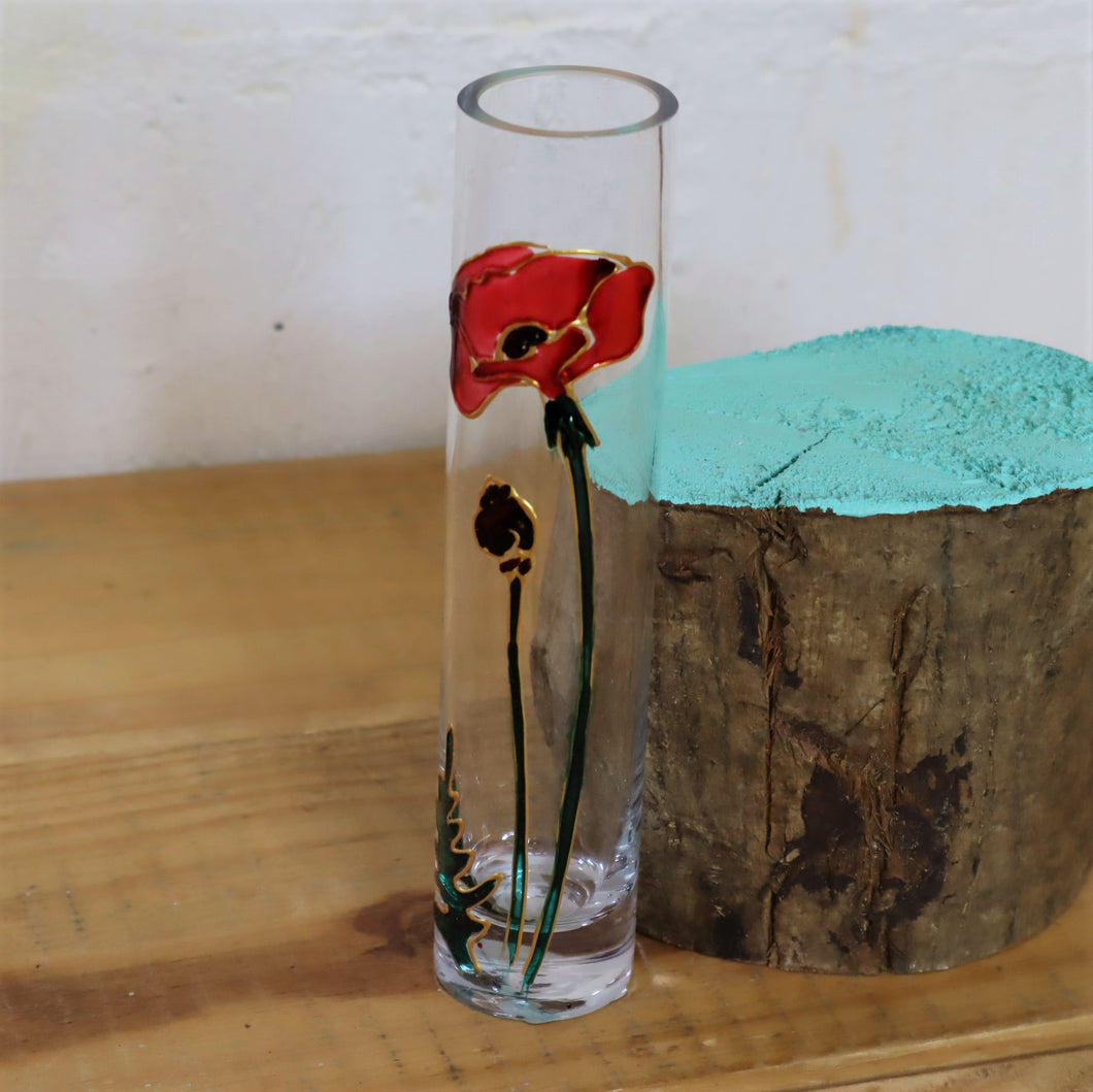 Hand painted poppy vase