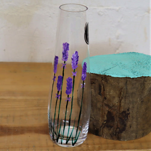 Hand painted rounded lavender vase