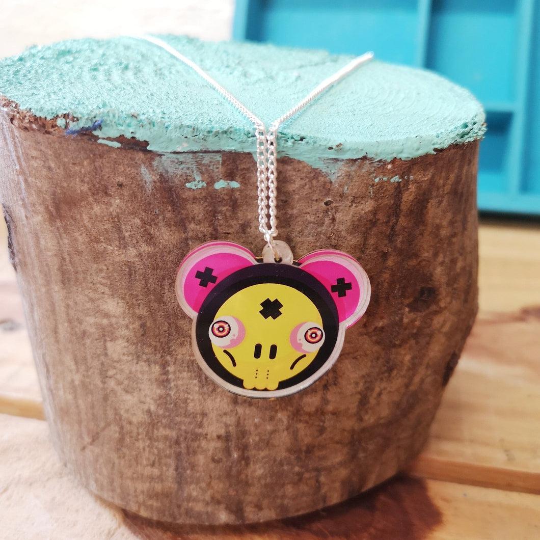 Yellow and pink skull mouse urban art pendant necklace