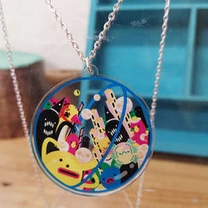 Double sided space creature urban art pendant necklace