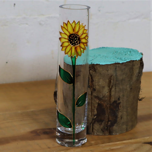 Hand painted sunflower vase