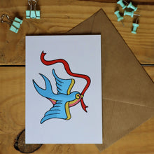 Load image into Gallery viewer, Swallow tattoo greetings card