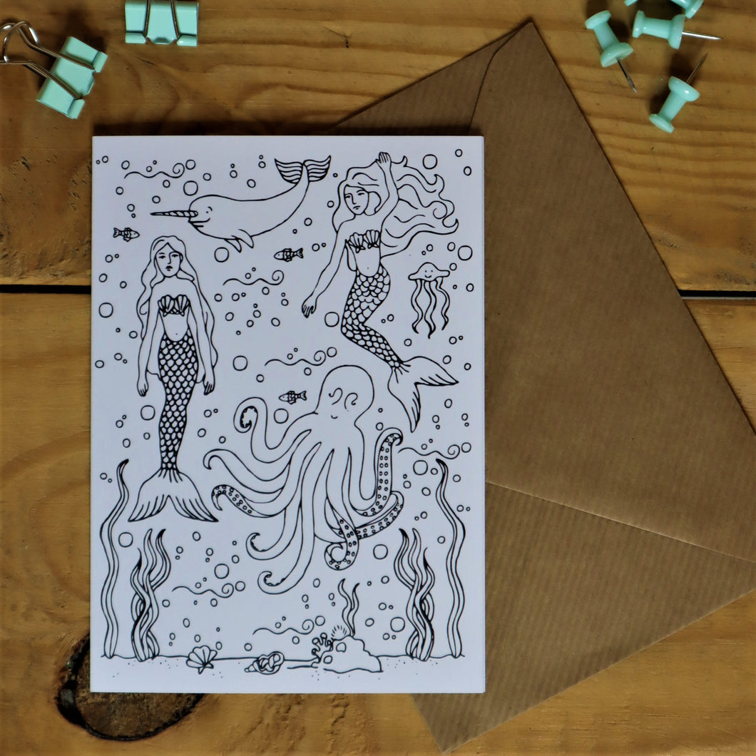 Under the sea colouring in card