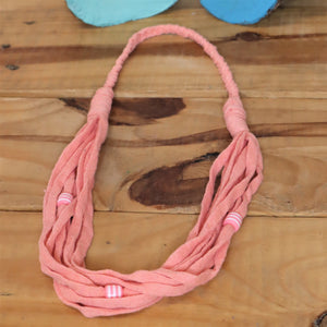 pink necklace made from recycled tshirt yarn