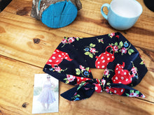 Load image into Gallery viewer, Headscarf in navy teapot cotton