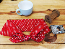 Load image into Gallery viewer, Headscarf in red and white polka dot cotton