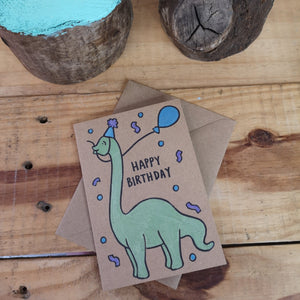 Birthday Dino hand drawn greetings card