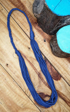 Load image into Gallery viewer, Multi-strand statement necklace in mid-blue,  made from recycled t-shirt yarn