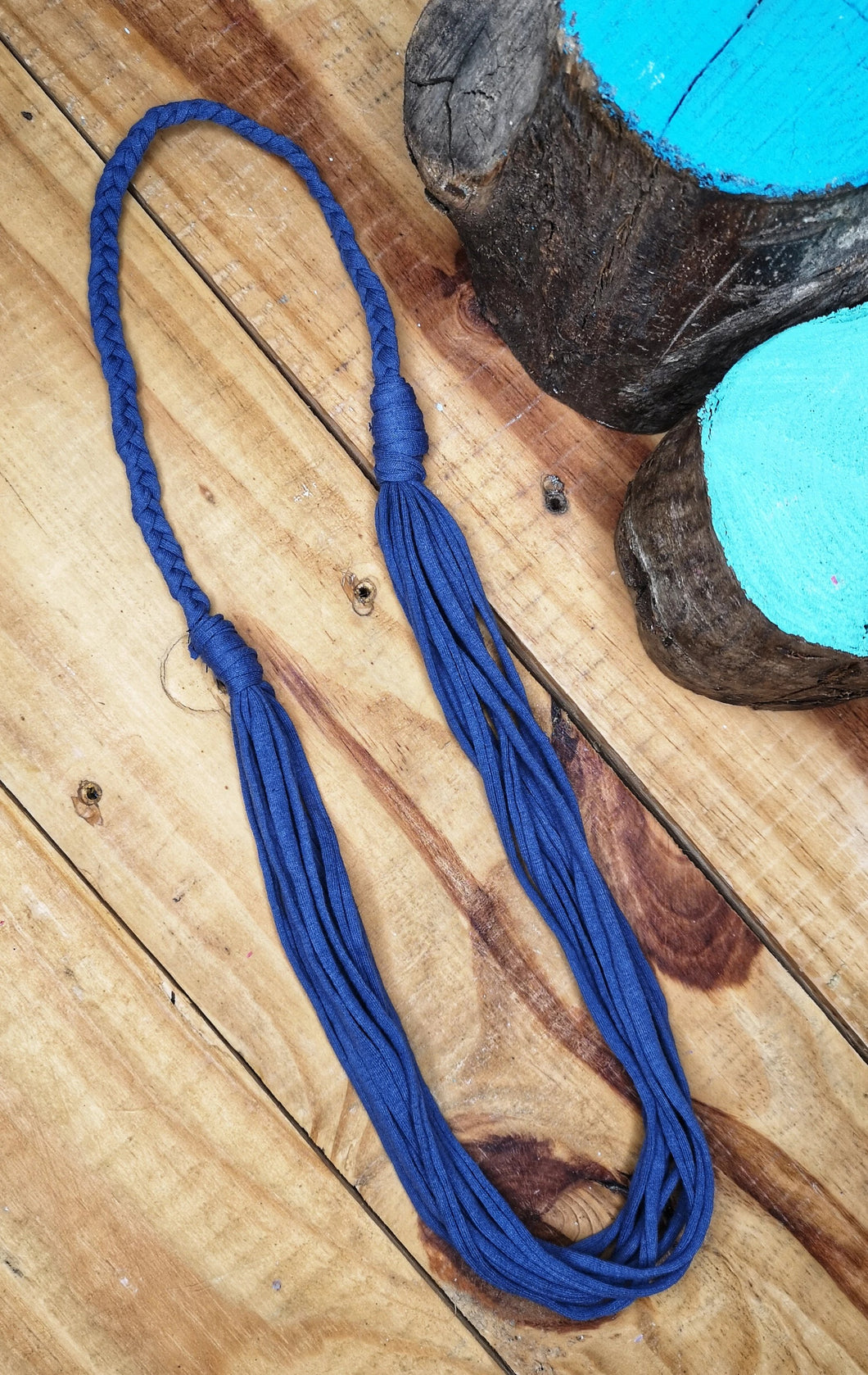 Multi-strand statement necklace in mid-blue,  made from recycled t-shirt yarn