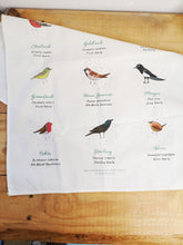 Load image into Gallery viewer, British birds illustrated tea towel