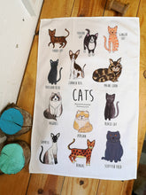 Load image into Gallery viewer, Cats tea towel, illustrated cat tea towel