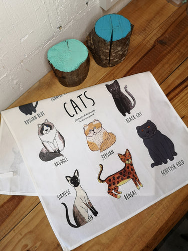 Cats tea towel, illustrated cat tea towel