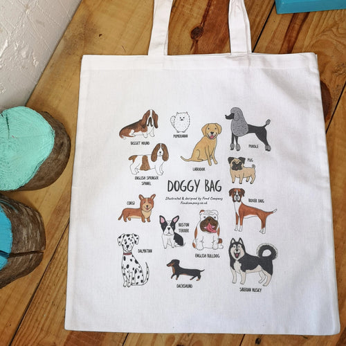 Doggy Bag, illustrated dog tote bag