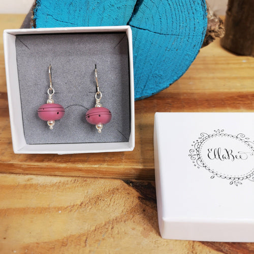 Pink Lampwork glass earrings