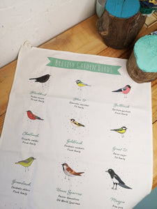 British birds illustrated tea towel