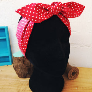 Headscarf in red and white polka dot cotton