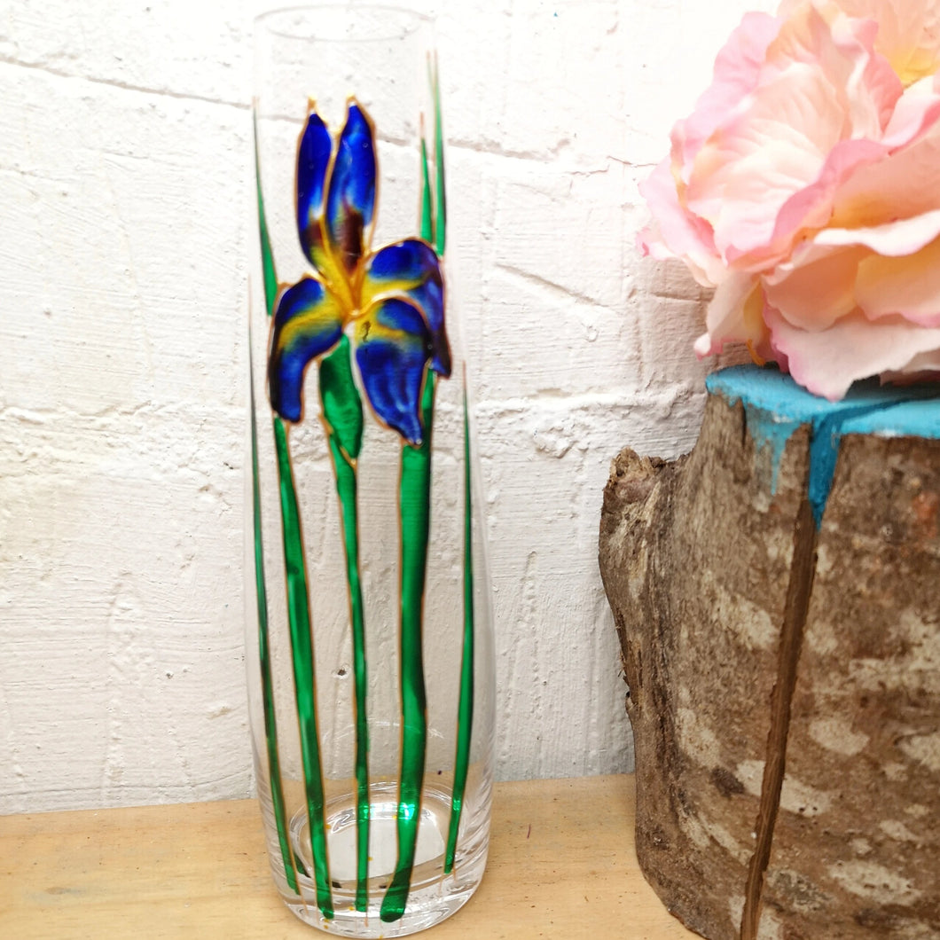 Hand painted Iris stem vase