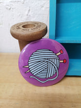 Load image into Gallery viewer, Knit happens original knitting illustration pocket mirror