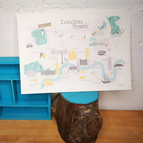 Illustrated map of London print by Mel Smith Designs