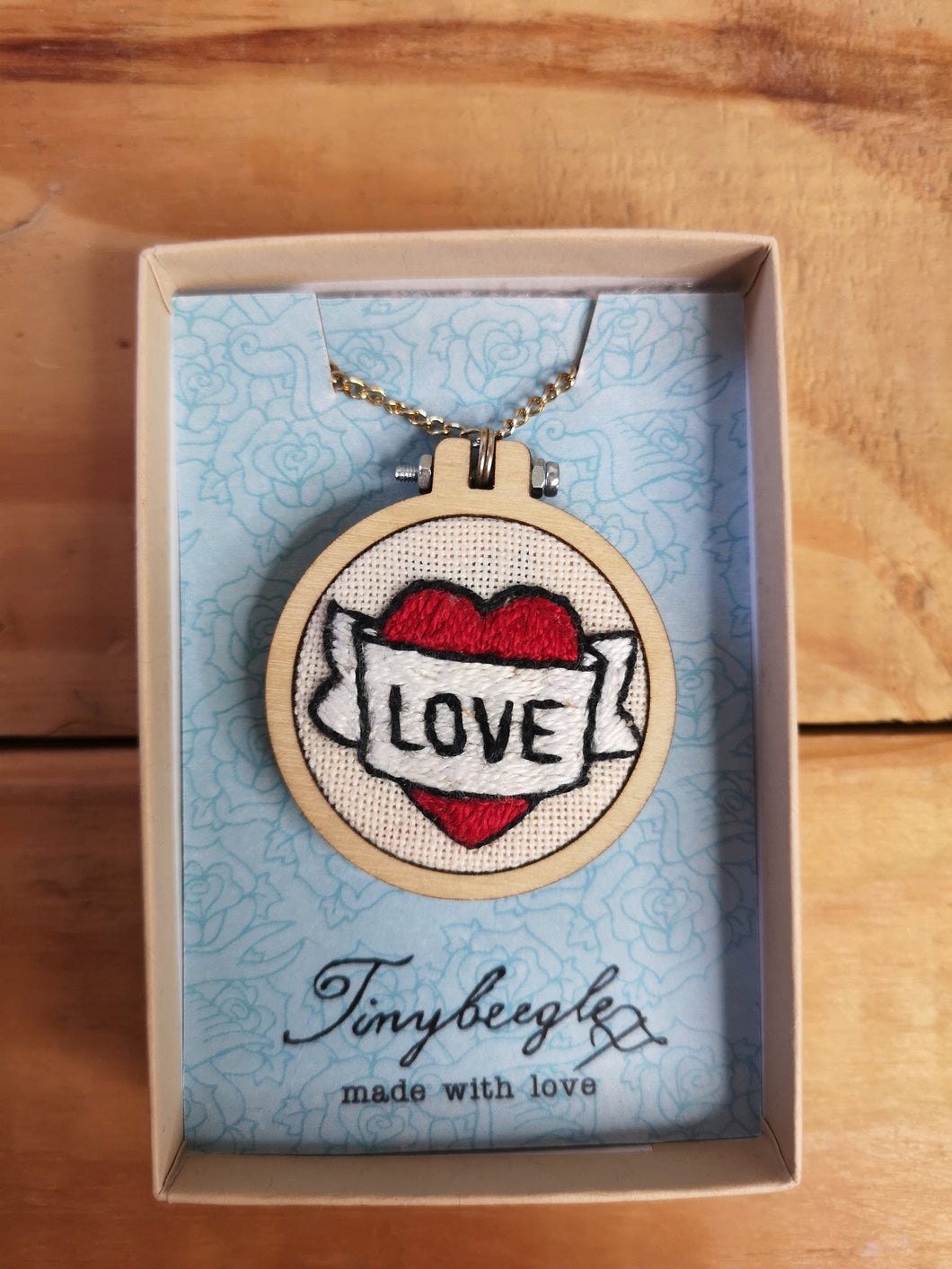Love heart and scroll tattoo hand embroidered necklace